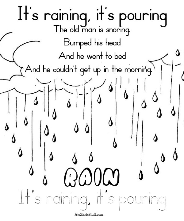 A To Z Kids Stuff Rhyme Its Raining Its Pouring Color Page