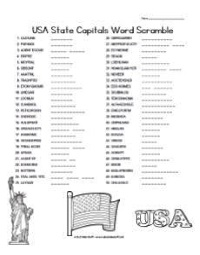 USA State Capitals Word Scramble
