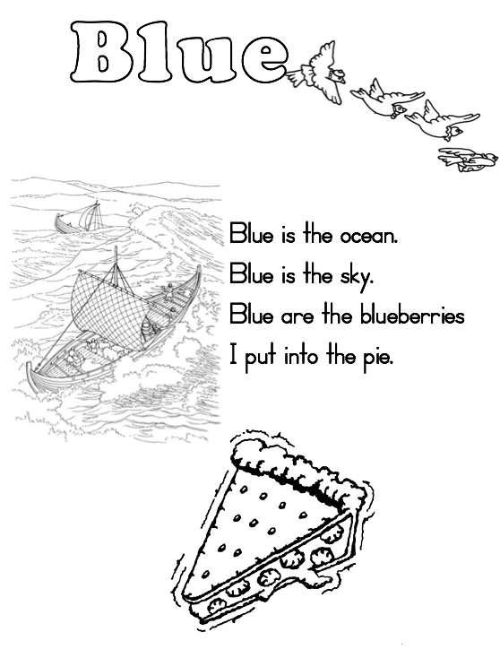 math worksheet : a to z kids stuff  blue color word worksheet : Kindergarten Color Word Worksheets