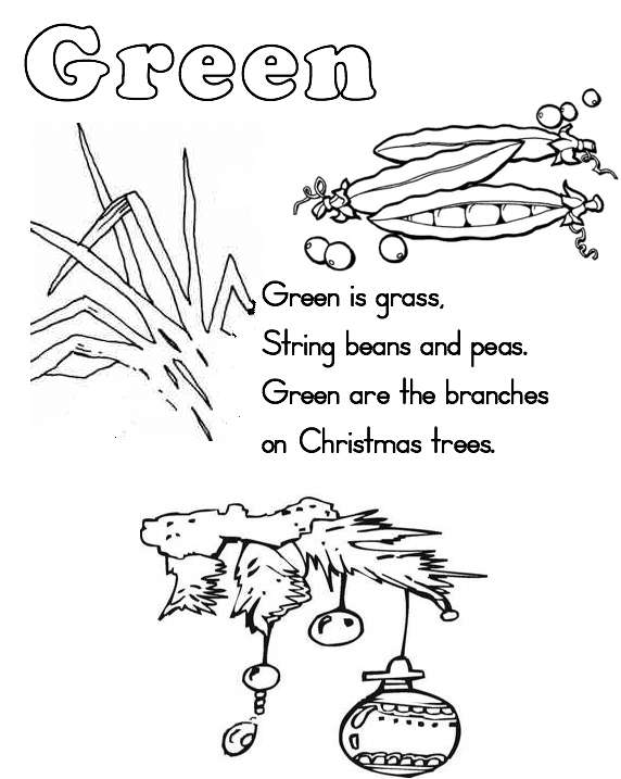 Color green colouring pages for Green coloring pages