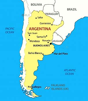 South America Argentina map