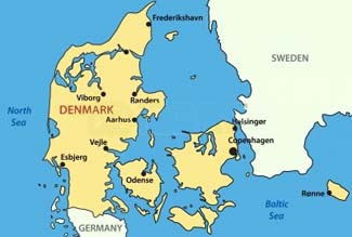denmark is the smallest of the scandinavian countries it is located south of norway and southwest of sweden and is bordered to the south by germany