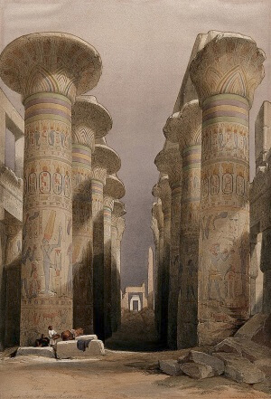 Decorated pillars of the temple at Karnac, Thebes, Egypt. Coloured lithograph by Louis Haghe after David Roberts