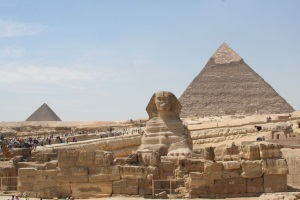 Sphinx and Pyramids in Egypt.