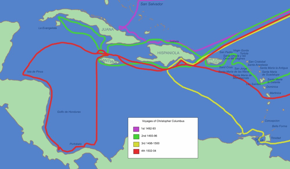 Routes taken by Christopher Columbus - four voyages
