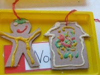 Gingerbread Man and House using puffy paint