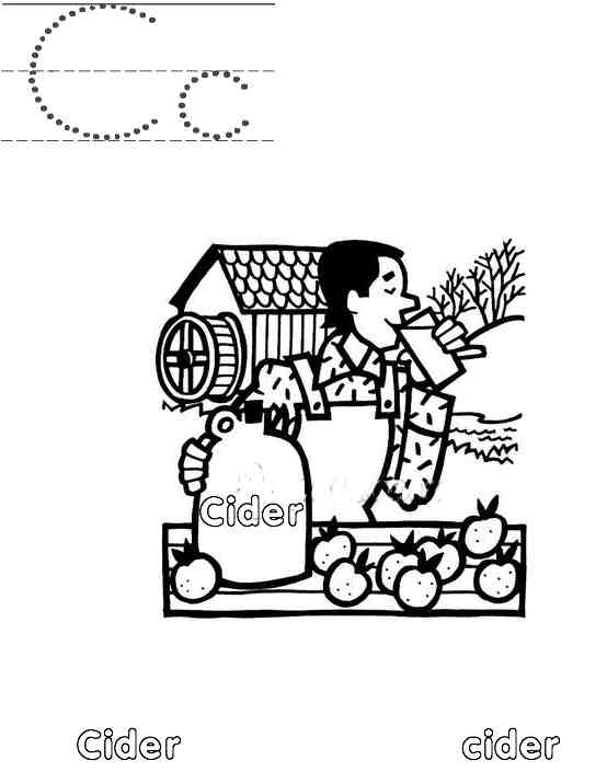 Apple Cider Coloring Pages : A to z kids stuff letter cc color page