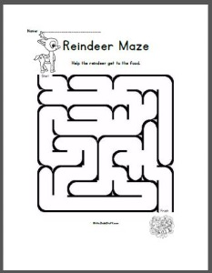 Easy Reindeer Maze for children