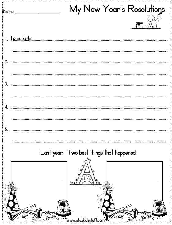 A To Z Kids Stuff New Years Resolutions Worksheet